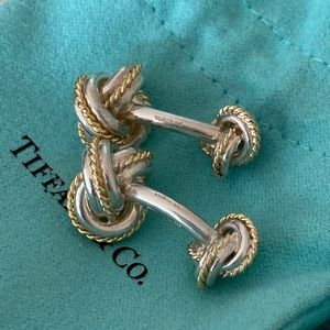 Tiffany & Co Double Knot CuffLinks 18kgold& silver
